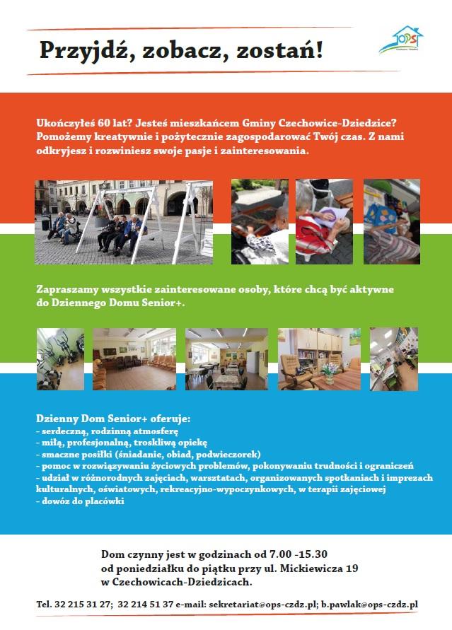 plakat Dziennego Domu Senior+ zaprasza do udział w zajęciach