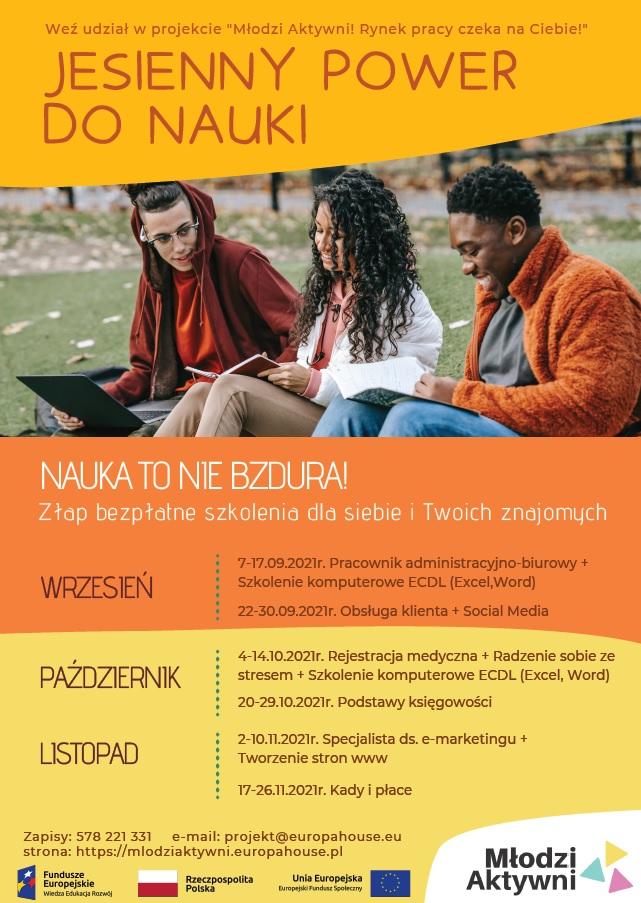 plakat projektu Młodzi Aktywni bezpłatne szkolenia